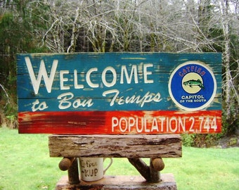 True Blood vampire fantasy sign, Welcome to BON TEMPS cut letters on red/blue faux weathered wood with a decoupage catfish and gloss finish