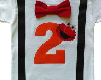 2nd Birthday Shirt Boys Elmo Tee-Orange