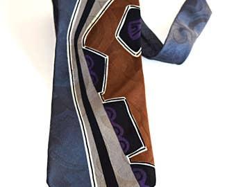 Men's Bellini Tie Made In Italy Italian Silk Graphic Design Gray/Black/Brown Excellent Condition