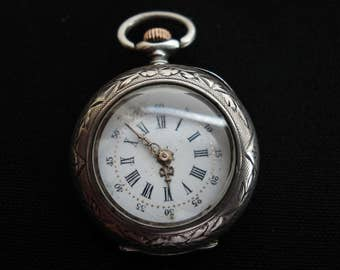 Antique French silver ( marked ) pocket watch montre gousset.
