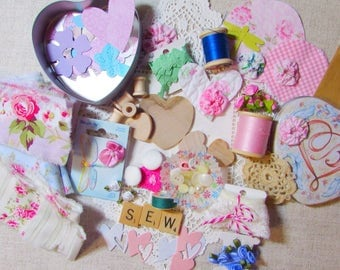 LOT Hand Frayed Ribbon Cottage Inspiration Kit - DIY - Sew - Buttons Roses - Brighton Tin - Bobbins Hearts Paper - Craft Quilt Journal 703