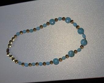 aqua and gray beaded necklace