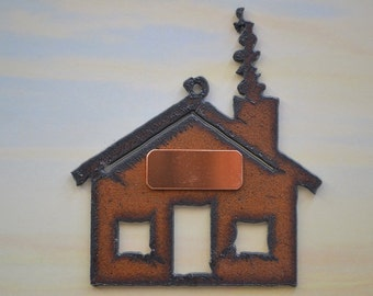 Rustic Rusty Rusted Recycled Metal CUSTOM PERSONALIZED HOUSE / Cabin / Lodge Ornament or Magnet
