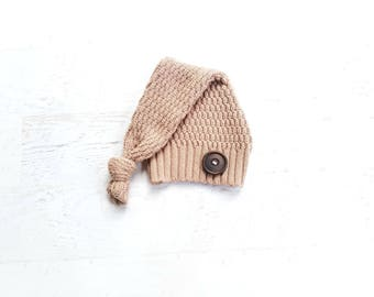 RTS Newborn Boy Upcycle Hat Top Knot Tan Sleepy Elf Hat Photography Prop ready to ship Cable Knit