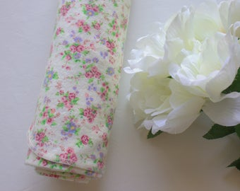 Floral Flannel Receiving Blanket - Baby Blanket - Cream Floral Blanket - Large Swaddling Blanket - Carseat Blanket - Made 4U Handmade Design