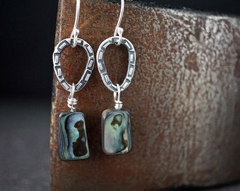 Natural Abalone Earrings , Rustic Sterling Drops , Paua Shell Dangle Earrings , Beach Shell Jewelry