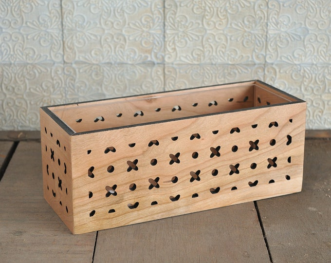 XOXO Indoor Floral Box Planter made from cherry wood, acrylic liner included ~ for plants, succulents, or herbs