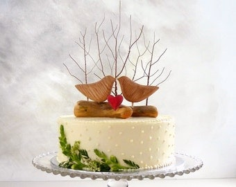 Best Seller! Winter Wedding Cake Topper with Love Birds, Winter Cake Topper, Rustic Bird Cake Topper/ Wooden Anniversary Gift