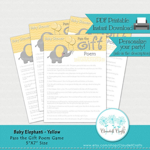 baby elephant yellow pass the gift poem baby shower game card by