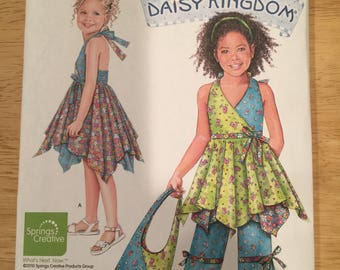 Simplicity pattern 2431, child dress, top, capri pants and bag