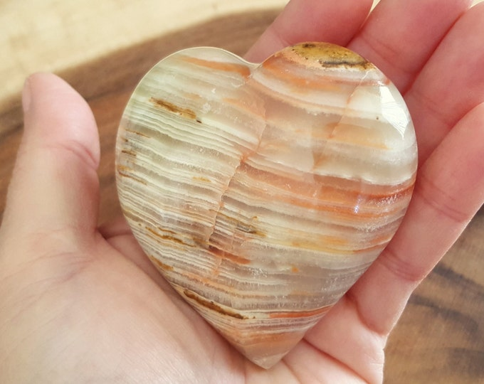 Pakistani Onyx Heart ~ One Reiki Infused gemstone heart approx 3 x 3 inches (PH19)