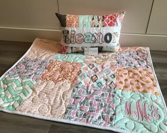 Owl baby quilt, pink gold mint