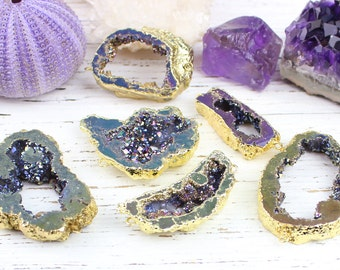 Agate Druzy Geode Slice Slab Connector Pendant Bead, Gold Plated Electroformed, Bracelet Focal, 15x35 - 40x55mm, H22