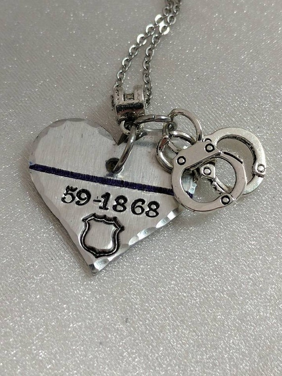 Police Wife Gifts - Police Officer Gifts - Blue Line Necklace - Police Officer Jewelry - Police Mom Gift - Personalized - Badge Number Gift