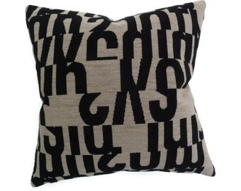 """Maharam - Gunnar Aagaard Andersen """"Letters"""" in taupe -  Mid-Century modern design accent Pillow 17"""" X 17"""" w/insert"""