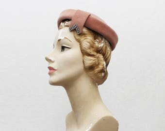 40s Pink Felt Hat - Vintage 1940s Pillbox Hat