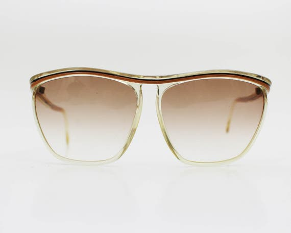 70s Retro Sunglasses - Vintage 1970s Clear Yellow and Black Eyewear - Women's Sunglasses
