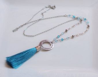 Boho jewelry glass long necklace blue tassel