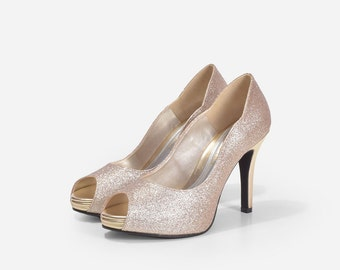 Holly Gold Glitter Heels, Light Gold Glittery Peep Toe Pumps, Gold Bridal Heels, Wedding Shoes, Party Shoes, Platform Heels