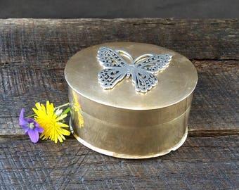 Butterfly Brass Trinket Box - Silver Pewter Butterfly - Gold Snuff Box - Vintage