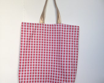 Tote Bag, Shopping Bag, Cotton Bag with White Lining, Red and White Bag, Handles Gold, Handles in faux leather