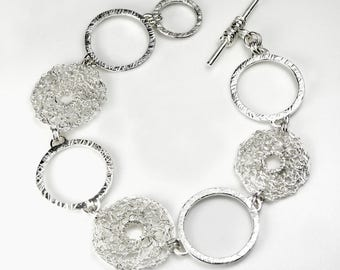 Hallmarked 925 Sterling Silver Crocheted and Solid Textured Circles Bracelet, Toggle Clasp, Handmade