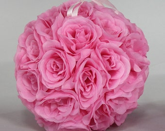 Silk kissing pomander flower ball PINK