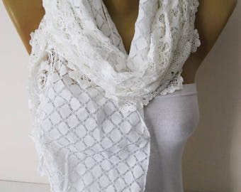 Lace Scarf- White Scarf -White Scarf with Lace-Gift Scarf-Fashion Accessories for her-Shawls fo women