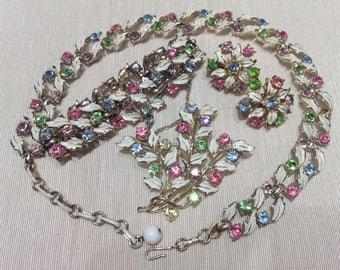Coro 4 Piece Vintage Set  | 1960's White Enamel Rhinestone Jewelry Set | Necklace/Choker | Clip Earrings | Bracelet | Brooch