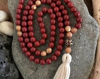 Deep Red Zen Mala Necklace, Zen, Yoga, Meditation, Bohemian, 108 Beads, Jewelry