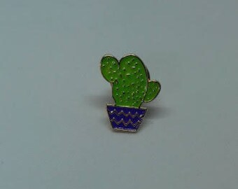 A fun and quirky tiny cactus plant pot enamel brooch pin