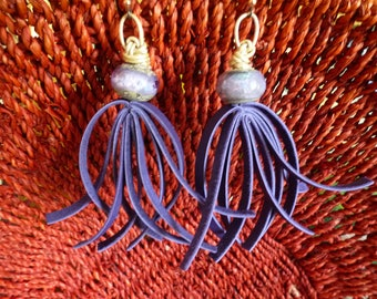 Purple People Eater Earrings look alien and one-eyed and wild; boho statements of leather lace fringe on periwinkle Art Glass beads!