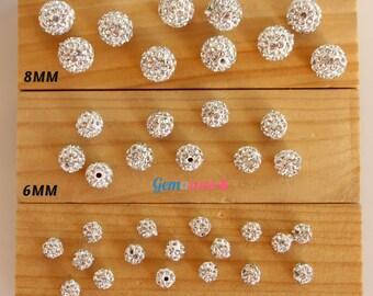 Shamballa Beads / Silver Ball Beads / Crystal Beads / Disco Balls / Loose Shambala / Pave Beads Rhinestone Beads 4/6/8mm Jewelry Making 20PC