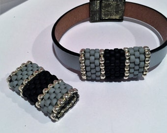 SALE: Handmade Beaded Tube, 10mm Flat Leather Frosted Grey and Frosted Jet Black, Half Round slider
