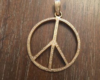 Gold Dipped Peace Sign with Diamonds