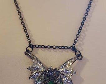 Black Dragon With Silver Glitter Green Stone Dragon Necklace