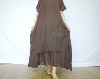 Scoop Neck Cap Sleeve Double Layer Dark Brown Maxi Dress With Floral Applique & Hand Embroidery On Left Bottom Hem - D012
