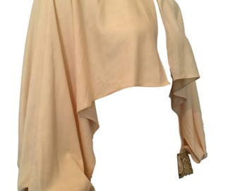 Chic 1970s Cream Evening Top Cape Jacket With Gold Metallic Cuff