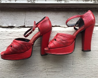 Vintage 1940's Red Leather Platform Heels, Sky High, Size 6.5