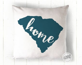 South Carolina - SC - Charleston - Customize Your Colors - Hometown - Home State - Housewarming Dorm Room Gift Pillow 18x18