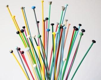 Vintage Knitting Needle Set Plastic Rainbow Colours Small Gauge English