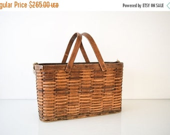 SALE antique wood basket, apple basket, gathering basket, beautifully aged antique woven apple gathering basket with metal lining, vintage