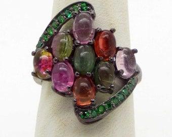 Fancy Tourmaline Sterling Silver Ring