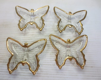 Vintage Set of Four Butterfly Dishes with Gold Trim and Tiny Glass Feet