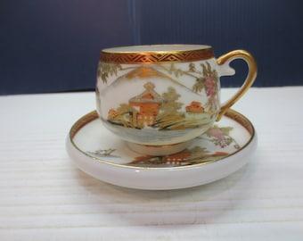 Vintage Hand Painted Fine Porcelain Mini Cup And Saucer Set Japan