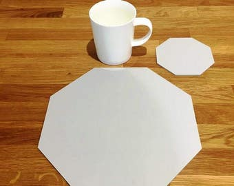 Octagon Shaped Placemats or Placemats & Coasters - in Light Grey Matt Finish Acrylic 3mm