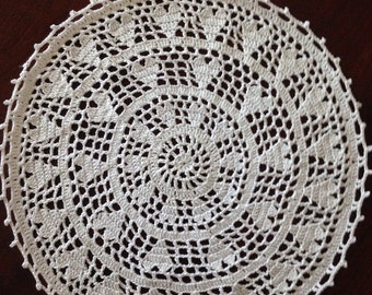 Round White Heart Doily, Handmade Crochet