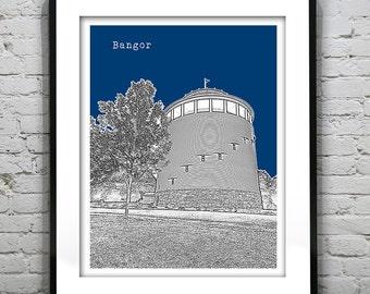 Bangor Maine Skyline Poster Art Print Version 3