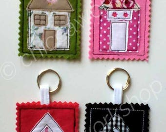 House Key Ring ITH - Machine embroidery- DIGITAL DOWNLOAD