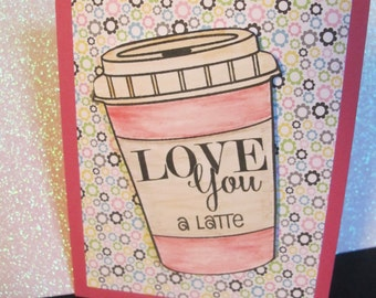 Handmade Stamped Valentine's greeting card